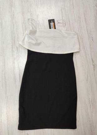 Ликвидация товара 🔥  черно белое мини платье бандо