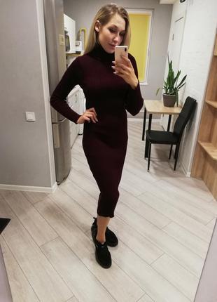 204574 - платье гольф, платье рубчик, платье резинка, платье миди