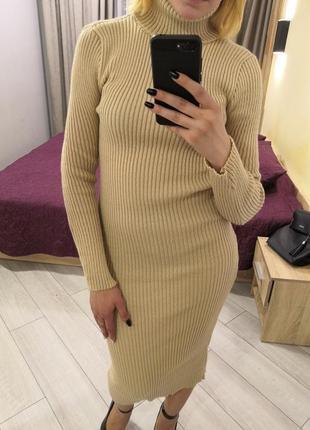 Платье миди, платье гольф, платье рубчик, платье резинка, плат...