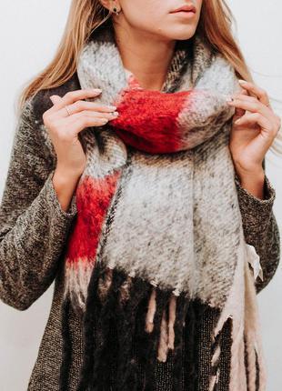 Шарф большой шарф в клетку шарф-плед на зиму tally weijl