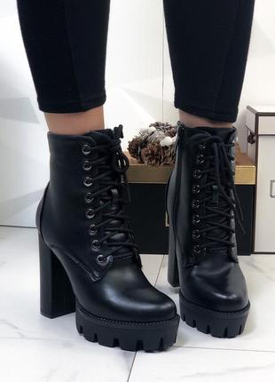 Высокие зимние ботильоны на платформе и каблуке,тёплые ботинки...