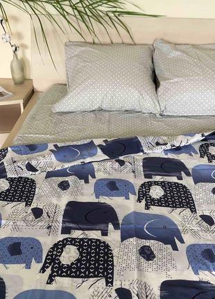 """Комплект постельного белья """"слоны"""". полуторный, семейный."""