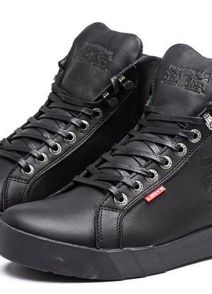Ботинки Зимние LEVI'S® Кожа Черные (40по45р.)