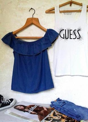 Красивая блузка джинсовая с открытыми плечами