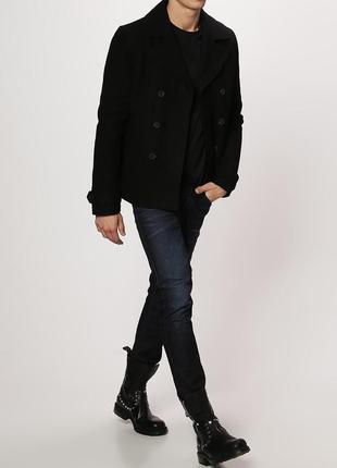 Мужское утепленное пальто с кожаными вставками your turn шерст...