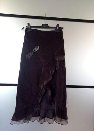 Коричневая вельветовая юбка миди.вельветовая миди юбка с рюшами.