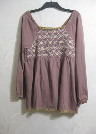 Платье туника roaman's вышивка вышиванка сиреневое розовое хло...
