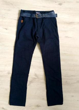 Новые зимние котоновые брюки синие для мальчиков на флисе. 134...