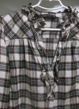Рубашка zara клетка с воланами серая коричневая made in portugal