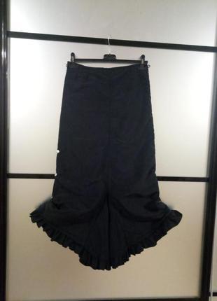 Базовая чёрная миди юбка на флисе. зимняя тёплая юбка миди. с-м