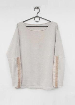 Кашемировый свитер с кожаными вставками на рукавах 🌿