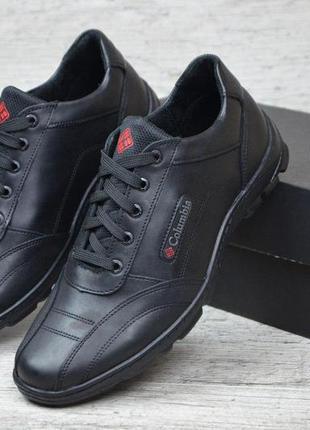 Мужские кожаные качественные кроссовки туфли