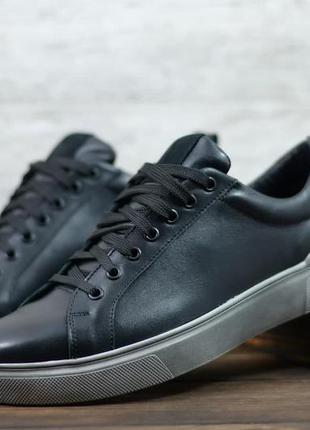 Стильные мужские кожаные кеды спортивные туфли