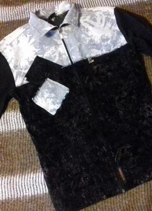 Рубашка-кофта на замке с замшевыми и джинсовыми вставками,руба...