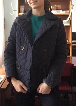Куртка стеганая comma двубортная синяя классика премиум эксклю...