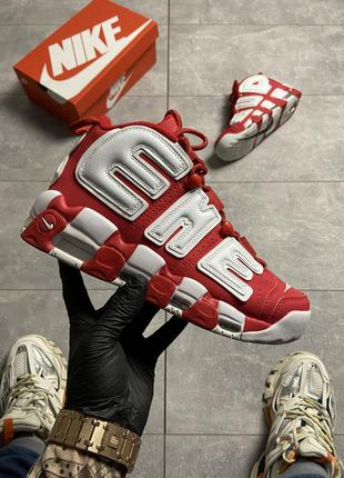 Кроссовки supreme x nike air more uptempo red.
