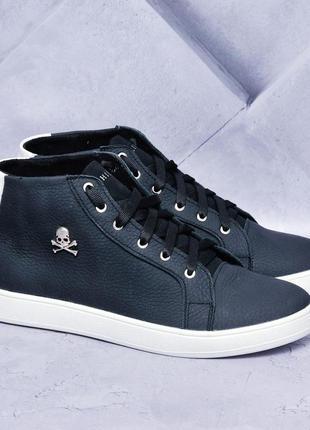Philip plein navi blue кожаные демисезонные ботинки