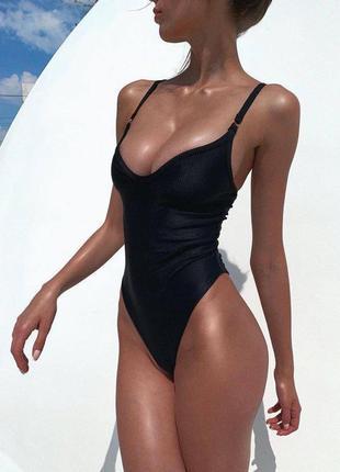 Черный слитный купальник рубчик цельный купальник-боди рубчик