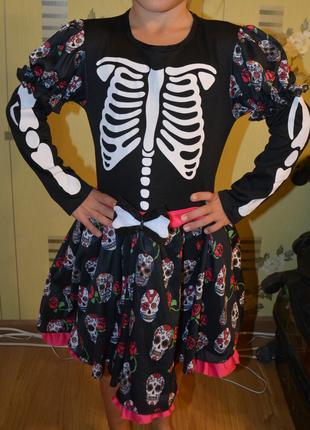 Прокат платье Девочки – скелета  - 7-9 лет