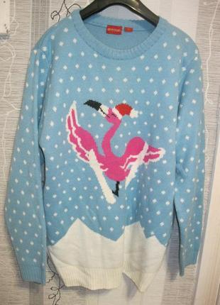 Розовый фламинго бесподобный нежный свитер джемпер кофта м-л-xl