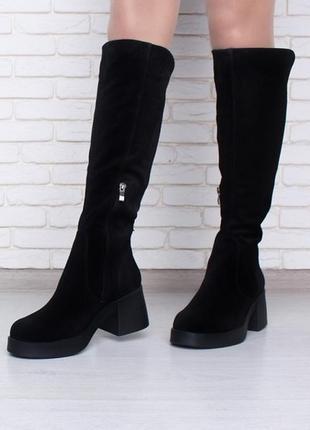 Замшевые женские сапоги ботфорты на толстом каблуке демисезон ...