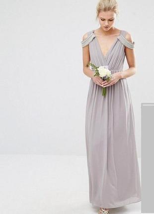 Серое платье в пол в греческом стиле