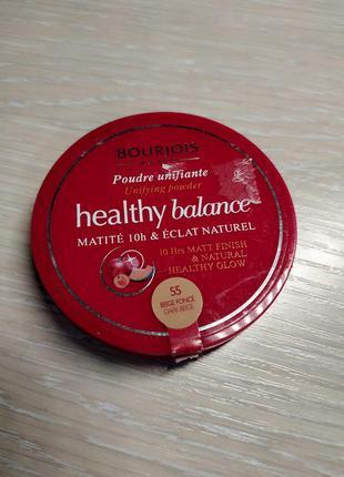 Матирующая пудра bourjois healthy balance 55 dark beige
