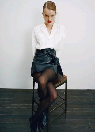 Юбка шорты эко кожа Зара , спідниця шорти шкіра Zara