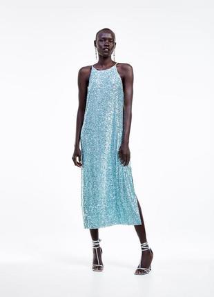 Платье миди в пайетки zara original