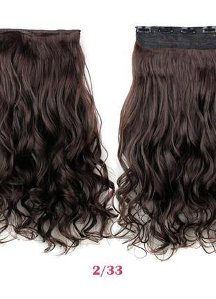 11-4 накладные волосы на заколках затылочная прядь темно-корич...
