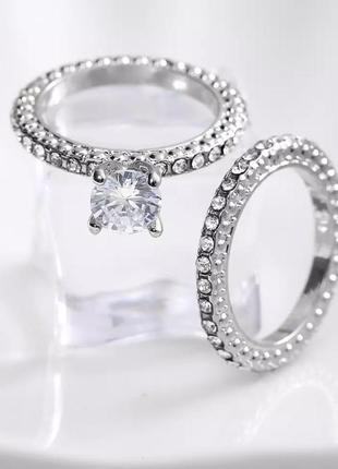 Набор колец полностью все в камнях кристаллах