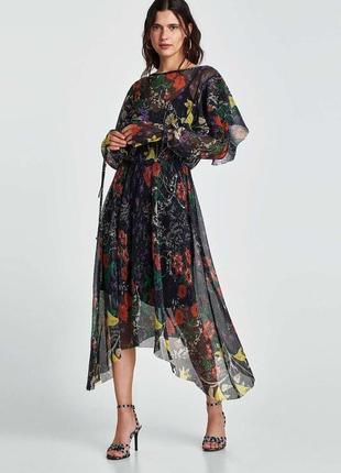 Платье zara миди в цветочный принт от zara