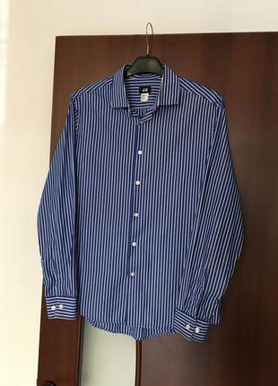 Рубашка синяя в полоску H&M размер М