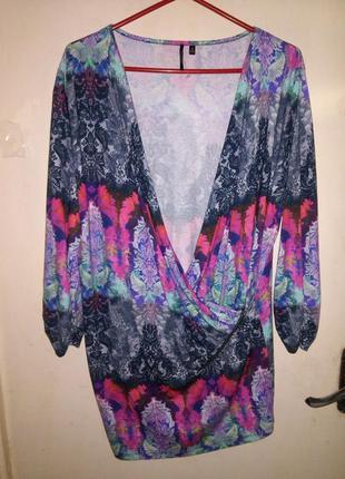 "Натуральная,ориг.,трикотаж. блуза-туника на ""запах"" с молнией,..."