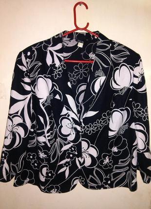 Натуральный,прелестный  пиджак-жакет в цветочный принт,большог...