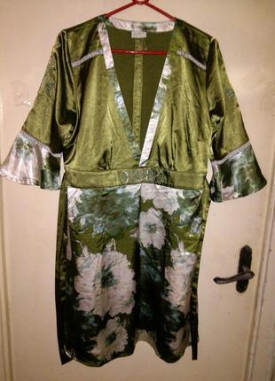 Красивейшая (травяная) туника-платье с поясом,с вышивкой,green...