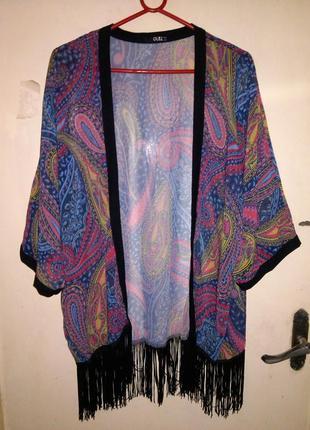 Красивая кардиган-накидка-кимоно, с бахромой, большого размера...
