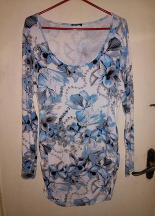 Натуральная,трикотажная,нежная, удлиненная туника-платье,больш...