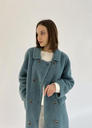 Натуральное дорогое пальто из стриженной шерсти овцы и ламы