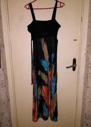 Красивейший,эффектный,трикотажный сарафан-платье  в пол,с перь...