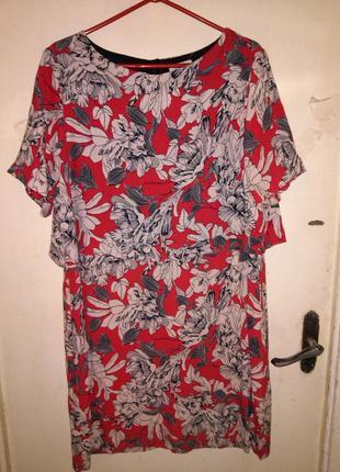 Натурал.,с оригинал.спинкой,красное платье,в цветочный принт,б...