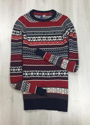 F7 свитер вязаный красный рождественский новогодний праздничны...