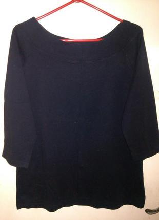 """Натуральная,модная,чёрная блуза-футболка,с декольте """"лодочка"""",..."""