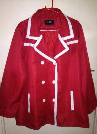 Элегантная,женственная,красная курка-манто-тренч с карманами,б...
