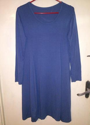 Вискозное,стрейчевое,элегантное,серо-голубое платье, 14-18 рр....