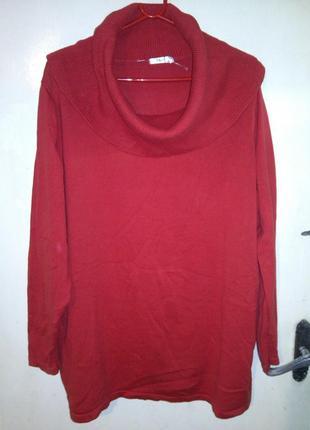 """Натуральный,трикотаж.вязки,красный свитер с """"хомутом"""",бол.разм..."""
