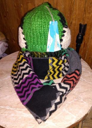 """Новая,""""прикольная"""", ярко-зелёная шапка с белыми наушниками,man..."""