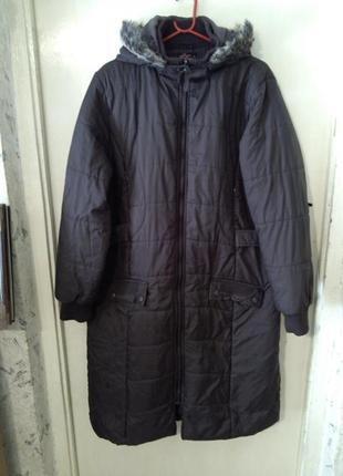 Демисез. пальто-пуховик,коричневого цвета,большого 20 размера ...