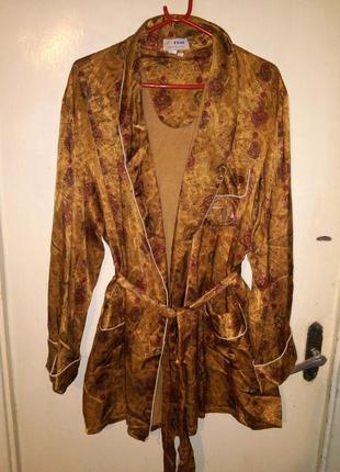 """Натурал.,утеплённый халат с"""" восточ.огурцами"""" с карман.,вышивк..."""
