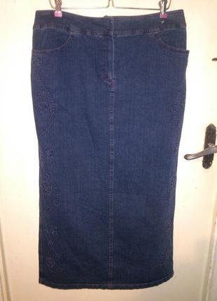 Натуральная,стрейчевая,длинная юбка-карандаш с карманами и выш...